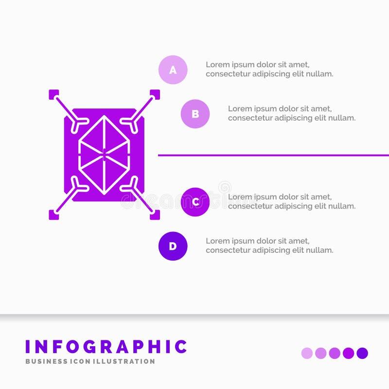 Przedmiot, prototyping, gwałtowny, struktura, 3d Infographics szablon dla strony internetowej i prezentacja, glif Purpurowej ikon royalty ilustracja