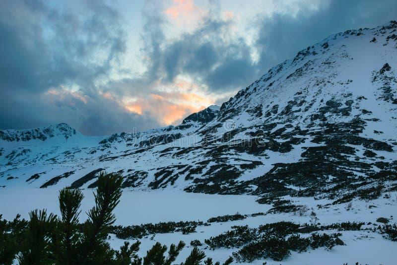 Przedni Staw, jezioro w zimie zdjęcie royalty free