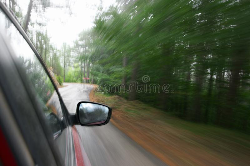 Przedni widok od pędzącego samochodu obrazy stock