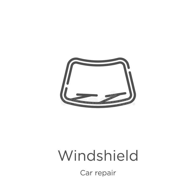 przedniej szyby ikony wektor od samochód naprawy kolekcji Cienka kreskowa przednia szyba konturu ikony wektoru ilustracja Kontur, royalty ilustracja