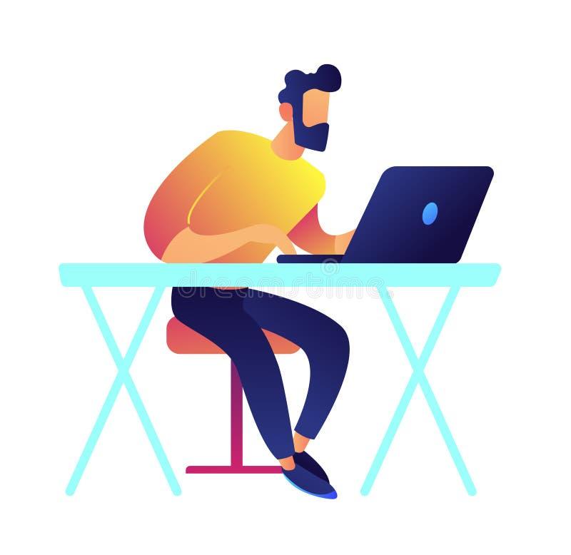 Przedsiębiorca budowlany pracuje na laptopu wektoru ilustraci ilustracja wektor