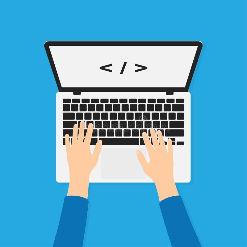 Przedsiębiorca budowlany, programista pracuje z laptopem i pisać na maszynie kod, Programowania i cyfrowania tła pojęcie royalty ilustracja