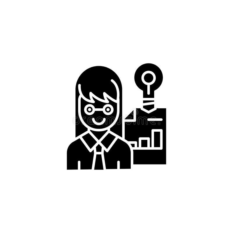 Przedsiębiorca ikony czarny pojęcie Przedsiębiorcy płaski wektorowy symbol, znak, ilustracja royalty ilustracja