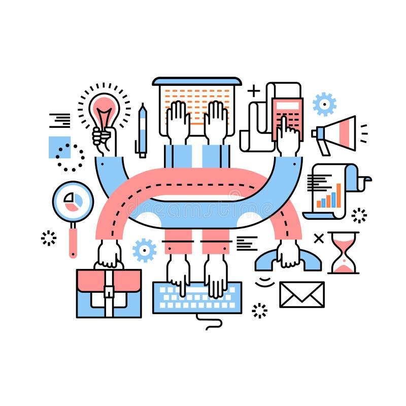 Przedsiębiorca praca zespołowa i multitasking ciężka praca royalty ilustracja