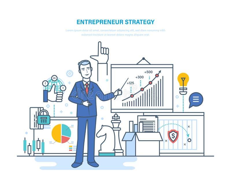 Przedsiębiorca strategia Rozwój rozwoje biznesu i technologie, uruchomienie projekty royalty ilustracja