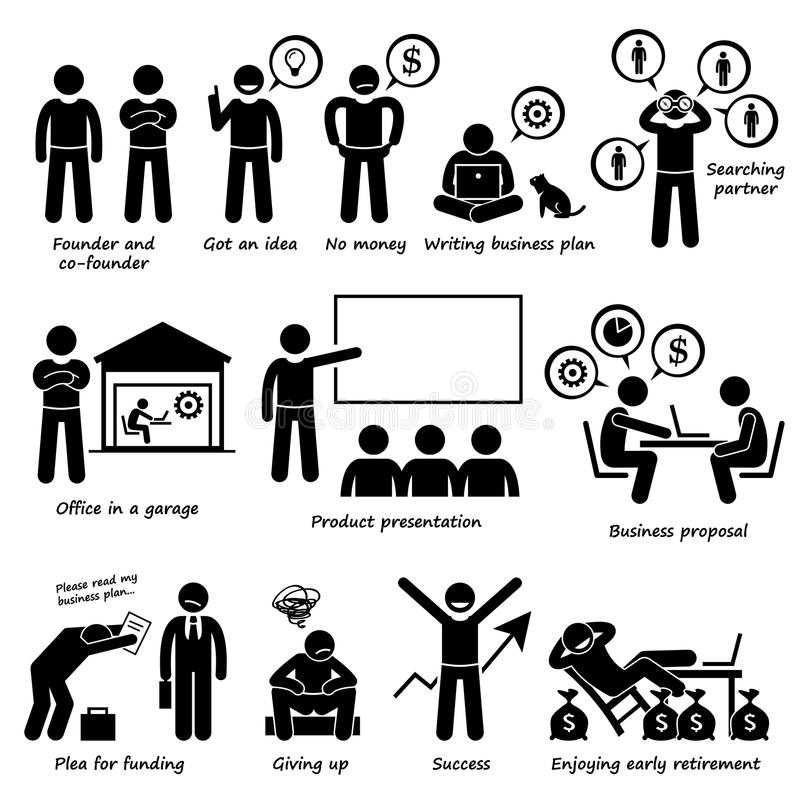 Przedsiębiorca Tworzy Początkowego Biznesowej firmy piktogram royalty ilustracja