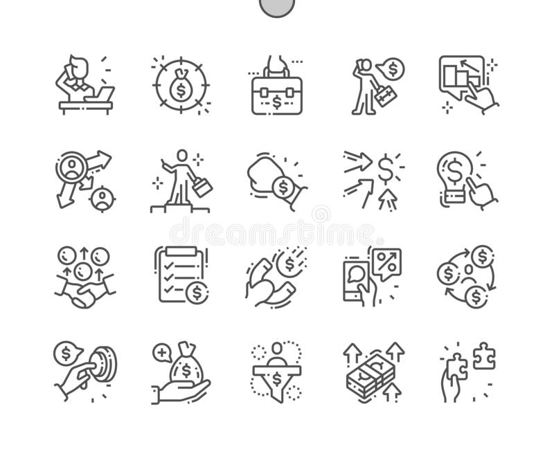 Przedsiębiorca Wykonywać ręcznie piksel Doskonalić wektor Cienkie Kreskowe ikony ilustracja wektor