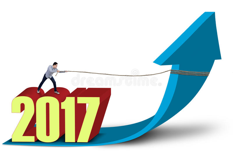 Przedsiębiorca z liczb 2017 ciągnień przyrosta strzała ilustracja wektor