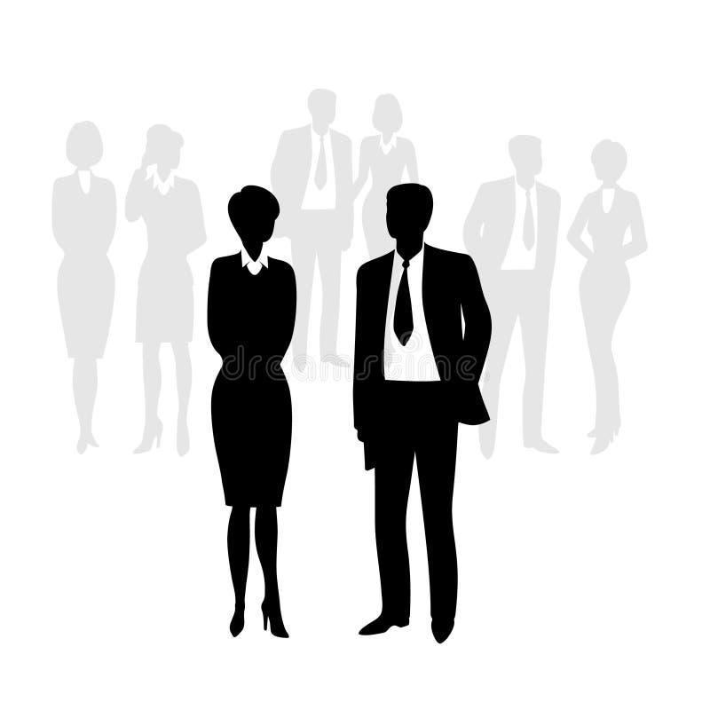 przedsiębiorcy sylwetek Czarna sylwetki grupa biznesowa oddzielnie ilustracja wektor