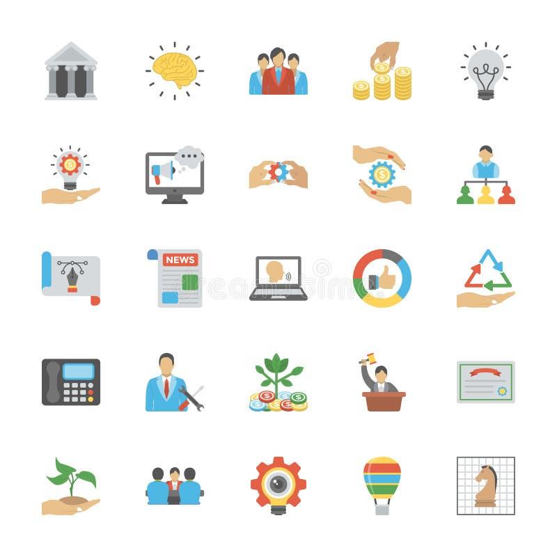 Przedsiębiorczość ikon Płaska paczka ilustracji