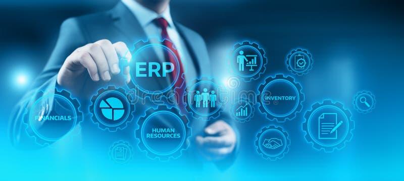 Przedsięwzięcia Zasoby Planowanie ERP Korporacyjny Firma zarządzania technologii Biznesowy Internetowy pojęcie ilustracji