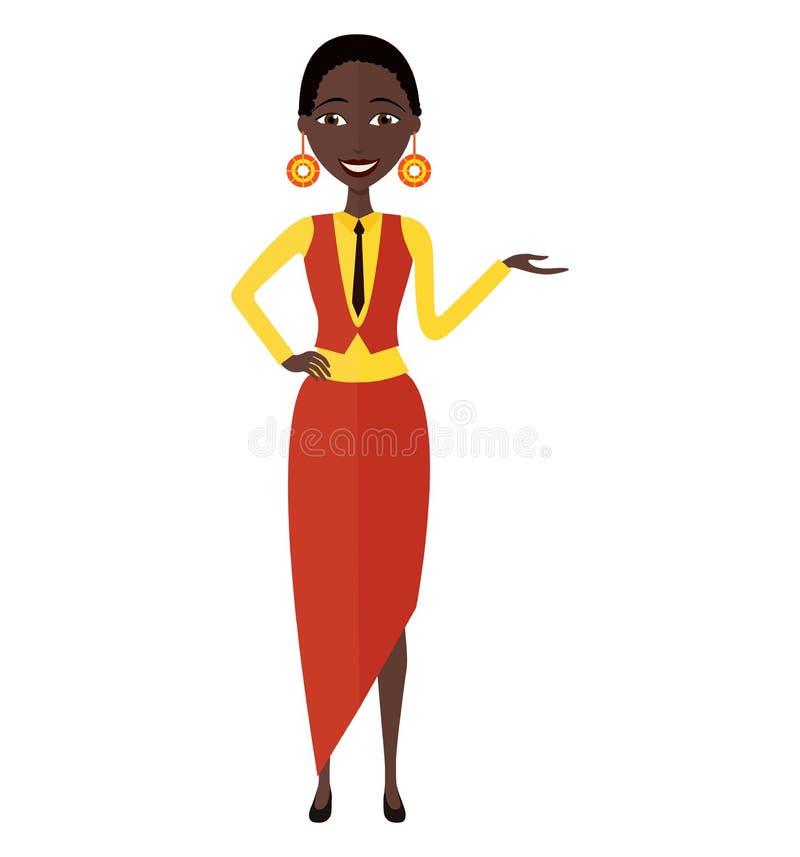 Przedstawiać uśmiechniętej afrykańskiej kobiety Wektor odizolowywający na białym plecy fotografia royalty free