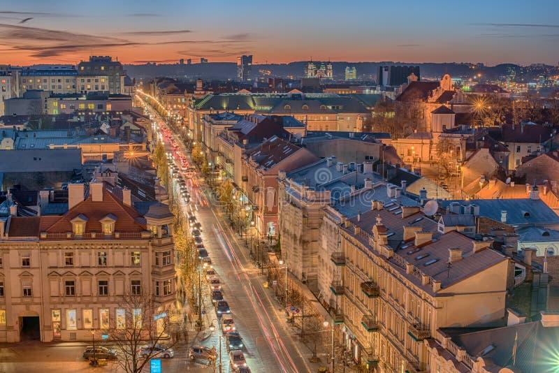 Przedstawicielski widok z lotu ptaka Stary miasteczko w Vilnius, Lithuania zdjęcie stock