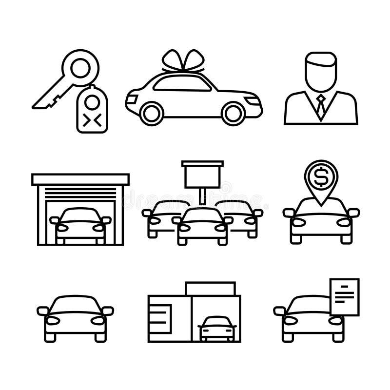 Przedstawicielstwa firmy samochodowej, zakup i sprzedaż samochody, wykładają wektorowe ikony ilustracja wektor