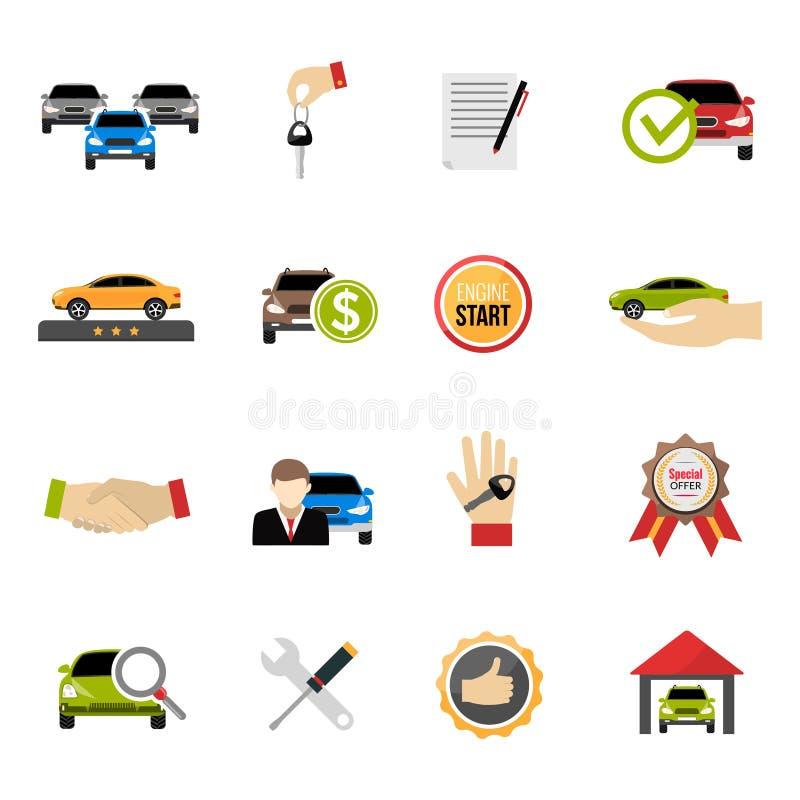 Przedstawicielstwo firmy samochodowej ikony ustawiać ilustracja wektor