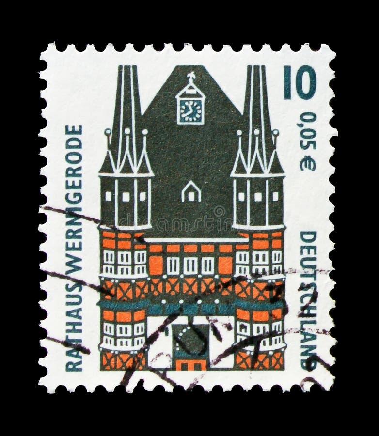 Przedstawienia Townhall, Wernigerode, widoku seria około 2000, zdjęcie stock