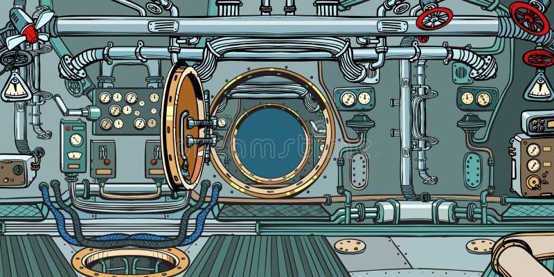 Przedział łódź podwodna lub statek kosmiczny ilustracja wektor