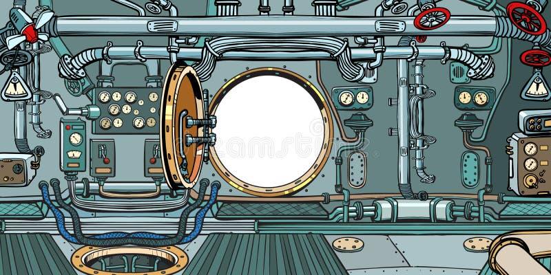 Przedział lub rozkazu pokład łódź podwodna ilustracji