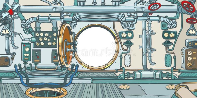 Przedział lub rozkazu pokład statek kosmiczny ilustracji