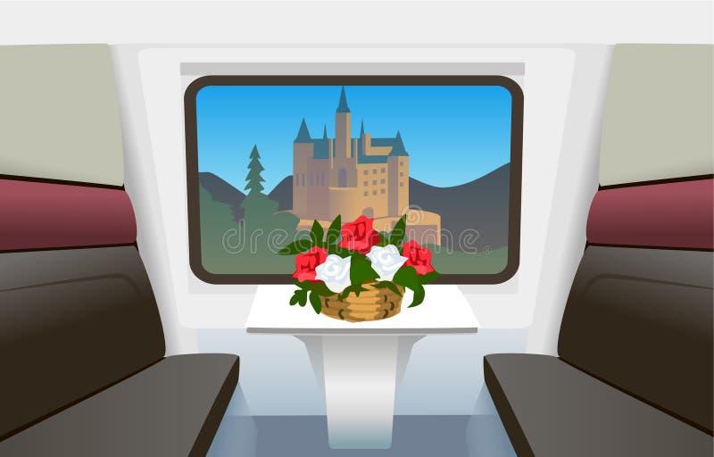 Przedziału szybkościowy pociąg podróżuje przez Europa royalty ilustracja
