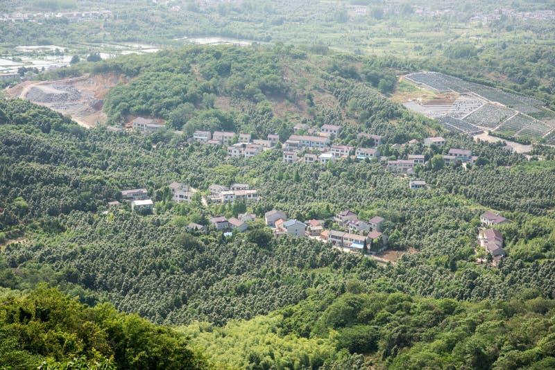 Przegapiać Pukou teren przy wierzchołkiem Miaogao szczyt zdjęcie stock