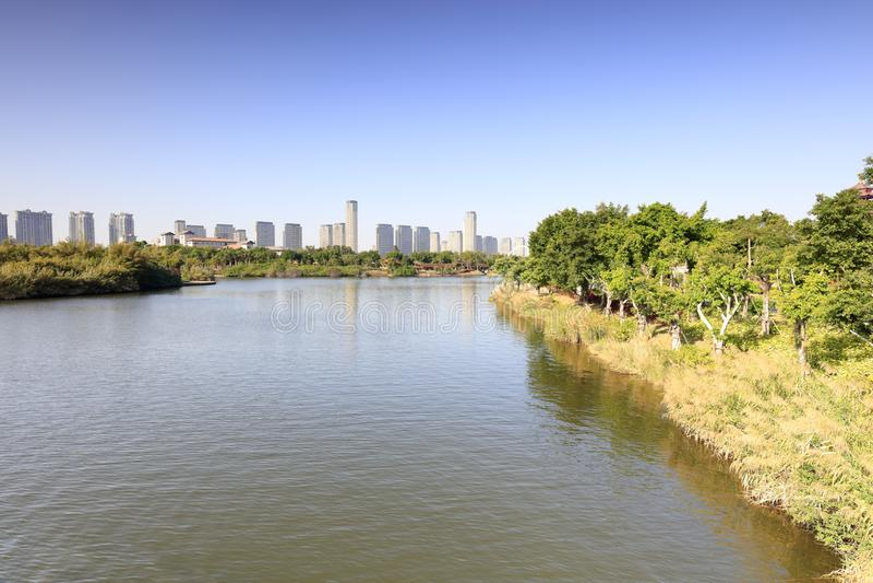 Przegapiać słone jezioro yuanboyuan park, adobe rgb zdjęcie stock