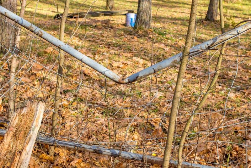 Przegięty metalu ogrodzenie, łamający obraz stock