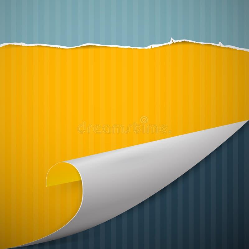 Przegięty papieru kąt, Retro karton, Drzejący papieru tło ilustracja wektor