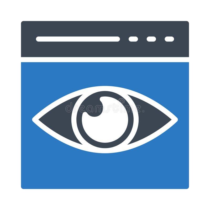 Przeglądarka internetowa glifu koloru płaska wektorowa ikona ilustracja wektor
