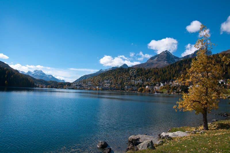 Przegląd jeziora St Moritz, zdjęcie royalty free