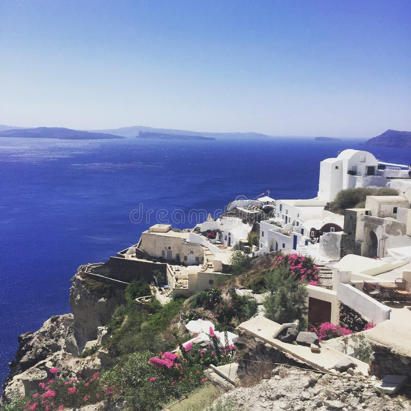 Przegląd Santorini fotografia royalty free