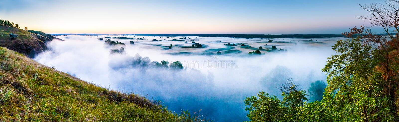 Przegląda mglistego świt w floodplain rzeka zdjęcia royalty free