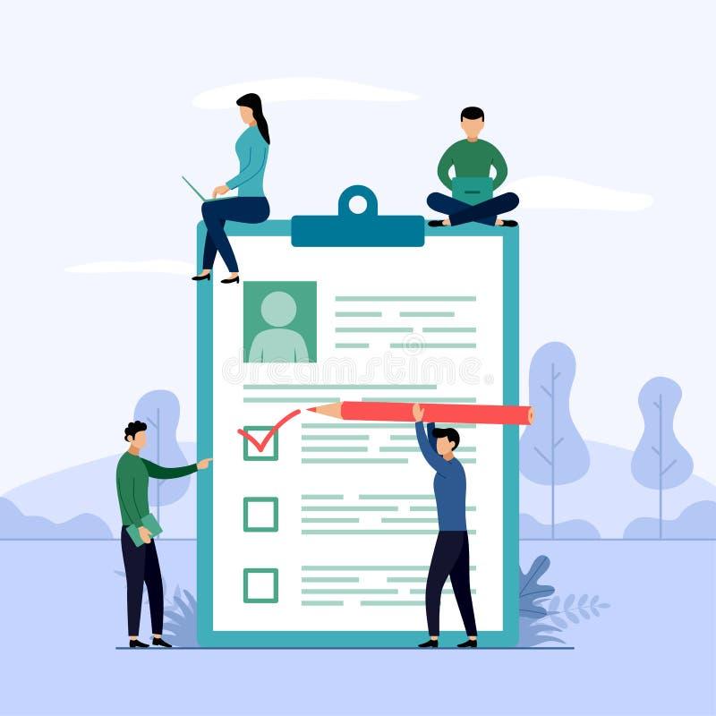 Przegląda raport, lista kontrolna, kwestionariusz, biznesowa pojęcie wektoru ilustracja royalty ilustracja