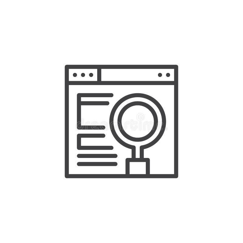 Przeglądarka internetowa z powiększać - szkło na parawanowej kontur ikonie royalty ilustracja