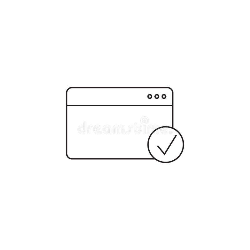 Przeglądarki internetowej cienka kreskowa ikona, webpage konturu loga wektorowy illustra ilustracji