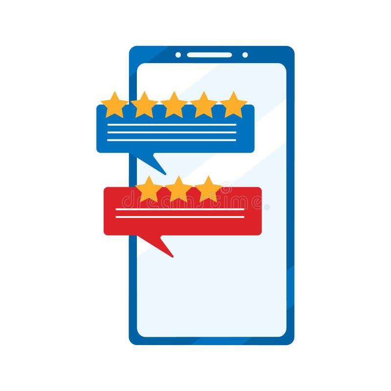 Przeglądowe ocena bąbla mowa na smartphone Pojęcie doświadczenie lub informacje zwrotne royalty ilustracja