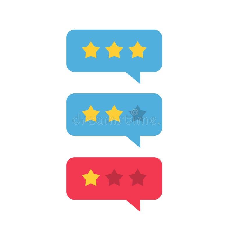 Przeglądowy ratingowy ikona wektor, przegląd gwiazdy z tempo gadki bąbla mową, dobrą i złą, pojęcie testimonial wiadomości ilustracji