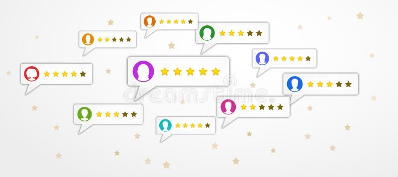 Przeglądowy ratingowy pojęcie z bąbel mowa i użytkowników profilami na białym tle z gwiazdami Produktu ogólnospołeczny medialny m ilustracja wektor