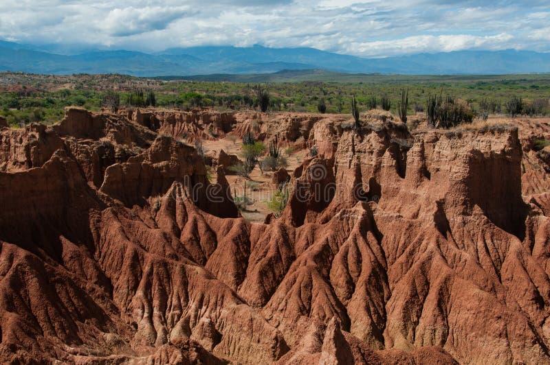 Przeglądu piaska kamienia Czerwona formacja gorący suszy obraz royalty free