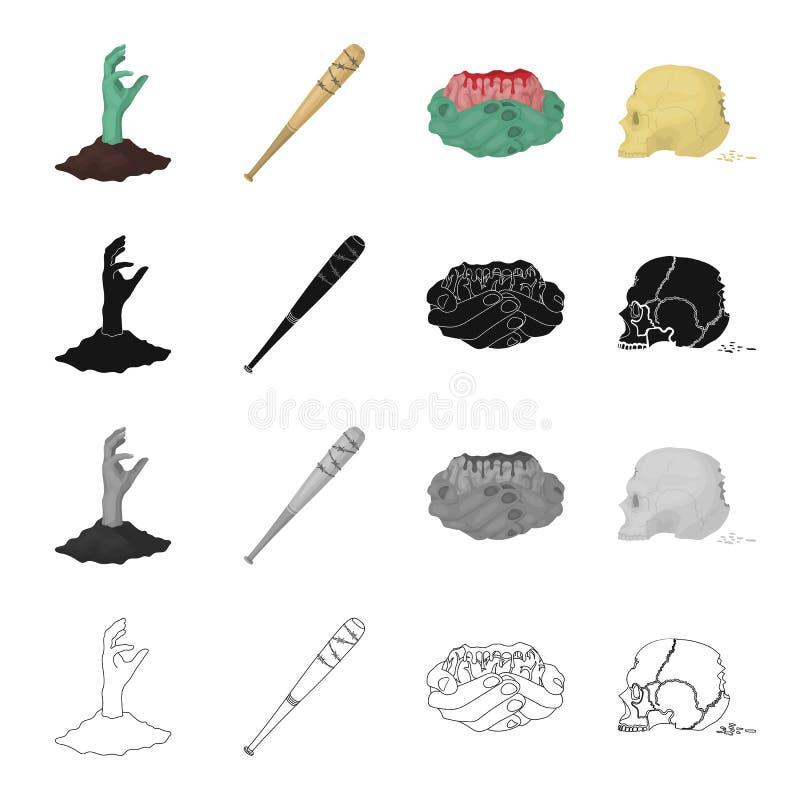 Przegniły, apocalypse, organie i inny sieci ikono w kreskówce, projektuje Ziemia, ręka, nieżywa, ikony w ustalonej kolekci ilustracja wektor