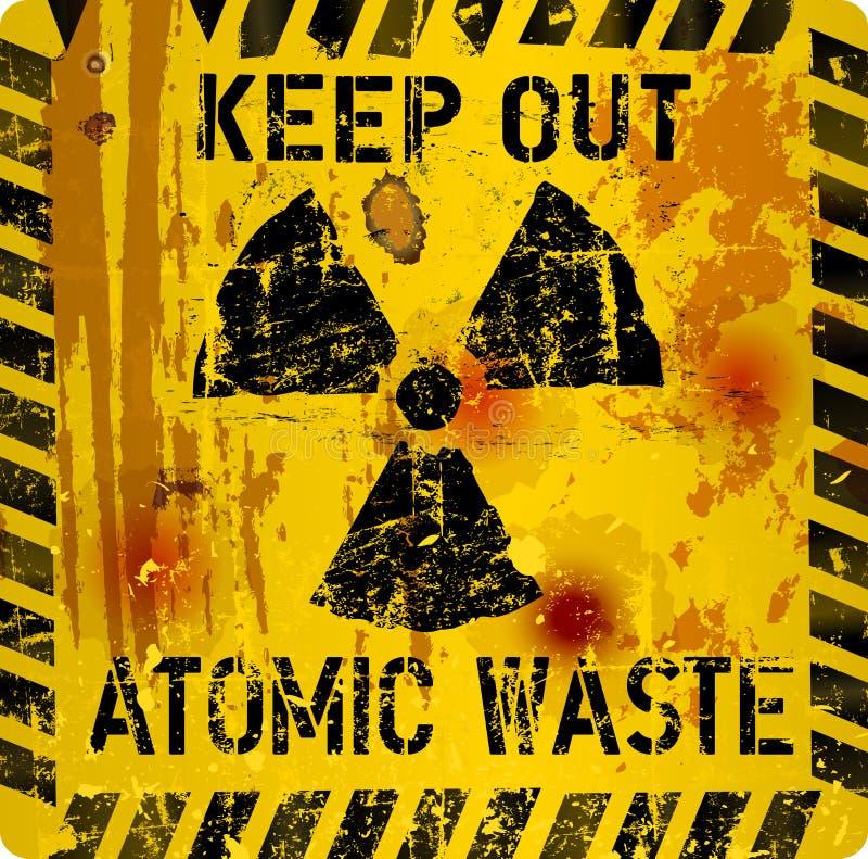 Przegniły atomowy jałowy znak ostrzegawczy ilustracja wektor