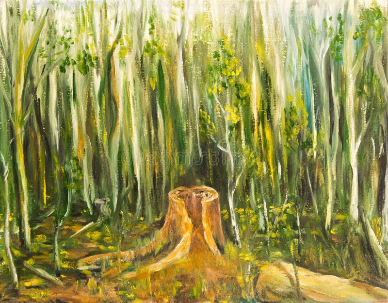 Przegniły fiszorek po środku młodego lasu ilustracja wektor
