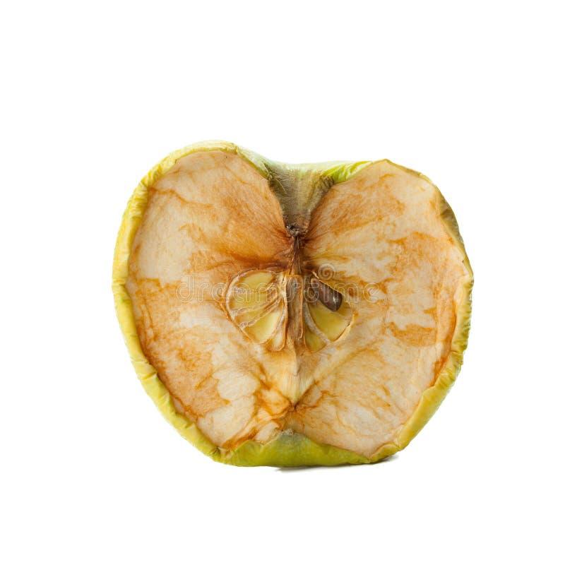 Przegniły jabłko na białym tle zdjęcie royalty free