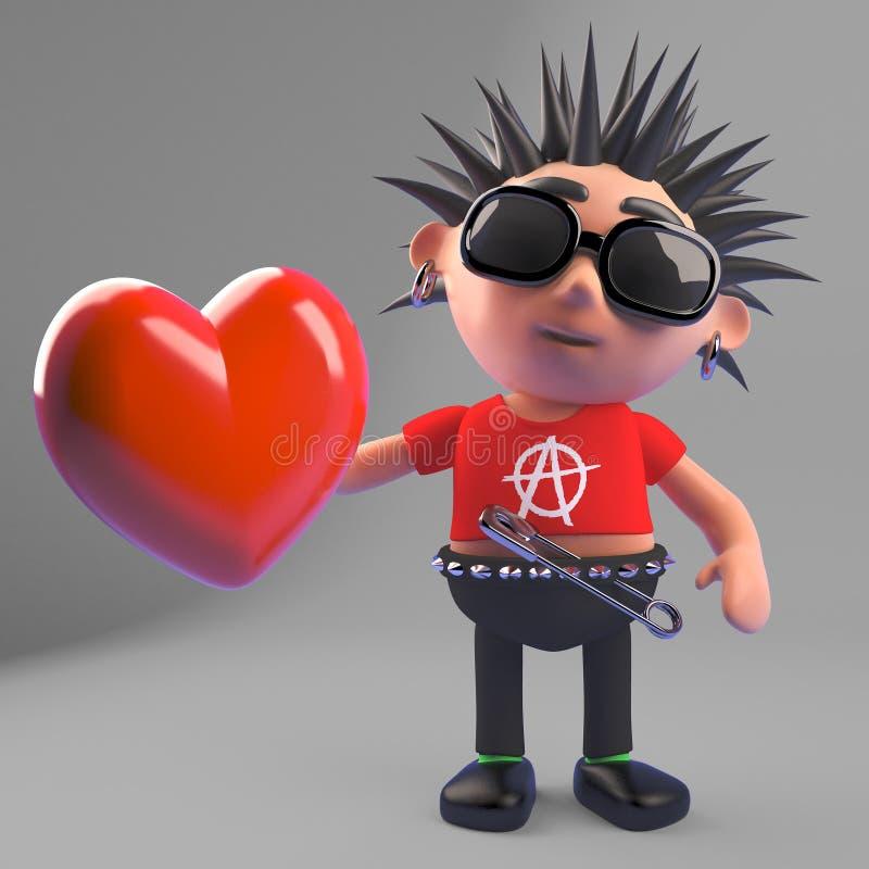 Przegniły punkowy bujak trzyma czerwonego serce 3d ilustracja, ponieważ jest romantycznym softy naprawdę ilustracja wektor