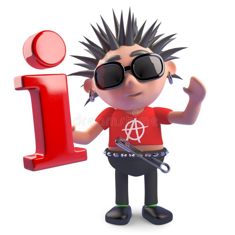 Przegniły punkowy charakter trzyma ewidencyjnego symbol, 3d ilustracja ilustracji