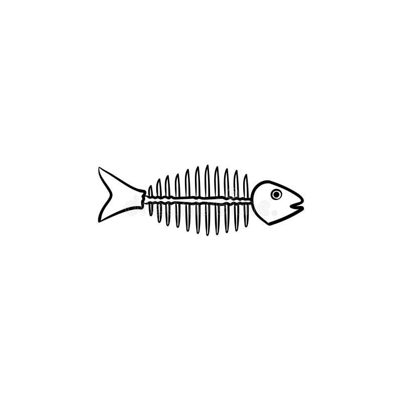 Przegniły rybi kościec z kościami rysować kreśli ikonę ilustracja wektor