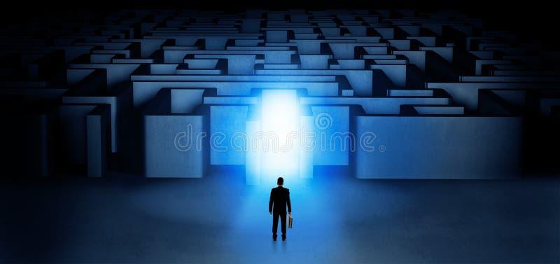 Przegrana biznesmen pozycja przy iluminuj?cym labityntu wej?ciem royalty ilustracja