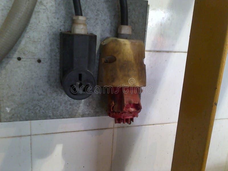Przegrzani elektryczni związki zdjęcie stock