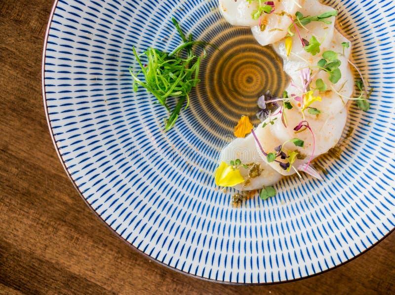 Przegrzebka sashimi od above fotografia royalty free