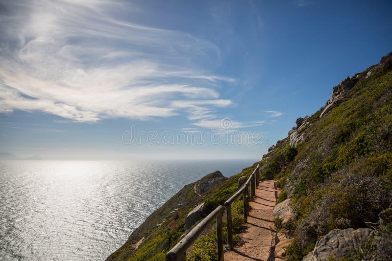 Przejście wokoło przylądka punktu z błękitnym, chmurnym niebem, zdjęcia stock